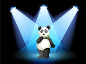 A panda at the center of the stage with spotlights — Stock Vector