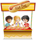 Three kids in a hotdog stand — Stock Vector