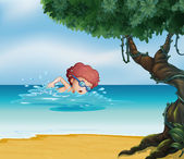 A young man swimming at the beach with an old tree — Stock Vector