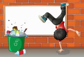 A boy breakdancing near a trash can with an empty board — Stock Vector