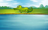 An alligator at the riverside — Stock Vector