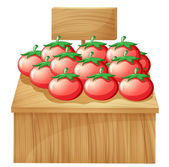A tomato stand with an empty wooden signboard — Stock Vector