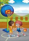 Two boys playing basketball at the basketball court — Stock Vector