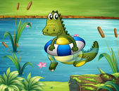 Un crocodile à la rivière avec une bouée — Vecteur