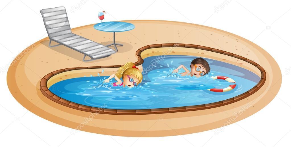 Una ni a y un ni o nadando en la piscina vector de stock for Fondos de piscinas dibujos