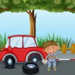 A boy with tools and a red car at the road — 图库矢量图片