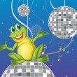 Royalty-Free Stock Vector Image: A frog sitting on a disco light