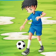 A boy sweating while playing football — Stock Vector