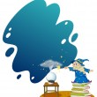 A wizard at the top of the piled books — Stock Vector