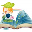 Stock Vector: Book with image of girl at pond