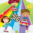 Stock Vector: Three kids playing car racing