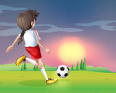 A girl playing football in the afternoon — Stock Vector