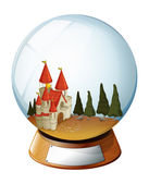 A castle with pine trees inside a dome — Stockvector