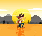 A boy with a hat at the desert — Stock Vector