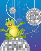 A frog sitting on a disco light — Stock Vector