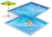 A girl swimming at the pool — Vector de stock