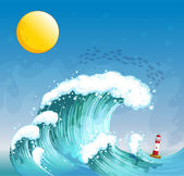 A big wave with a tower — Stock Vector