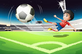 A football player kicking a ball — Stock Vector