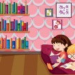 Stock Vector: Two girls reading inside the house
