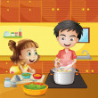 A young girl and boy at the kitchen — Stock Vector