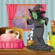 Stock Vector: Witch looking at girl sleeping inside room
