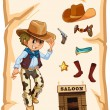 A special paper with an image of a cowboy — Imagen vectorial