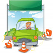 Stock Vector: An accident at the road near the empty signboard