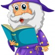 Stock Vector: A wizard holding a book