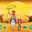 A cowboy and a cowgirl at the desert — Stock Vector