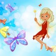 A fairy with a red dress beside the group of butterflies — Stock Vector #25978363