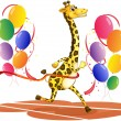 A giraffe running with colorful balloons — Stock Vector