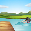 A young swimmer practicing — Stock Vector