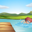 A young gentleman swimming at the beach — Stock Vector