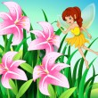 A fairy pointing the pink flowers at the garden — Stock Vector