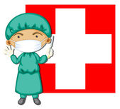 A doctor in front of the Switzerland flag — Stock Vector