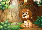Un lion assis à la forêt — Vecteur