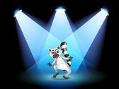 Een podium met een dansende lemur — Stockvector