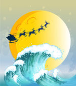 Big waves under the bright full moon — Vector de stock