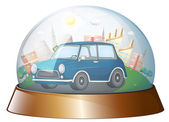 A dome with a blue car — Stock Vector