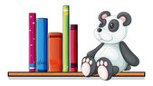 A shelf with books and a toy panda — Stock Vector