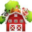 Stock Vector: A barn with animals at the rooftop