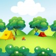 Camping tents at the top of the hill — Stock Vector #25984631
