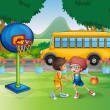 Royalty-Free Stock Vector Image: Two boys playing basketball near the school bus