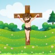 Stock Vector: Boy hanging on cross