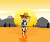 A cowboy at the desert — Stock Vector