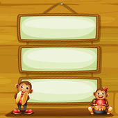 Two musical monkeys in front of the hanging signboards — Stock Vector
