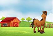 Un cheval à la ferme — Vecteur