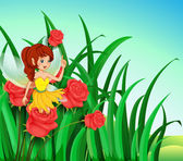A fairy with a yellow dress at the garden — Stock Vector