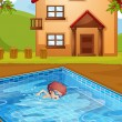 A boy swimming at the pool in his backyard — Imagen vectorial