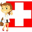 The flag of Switzerland at the back of a doctor — Stock Vector